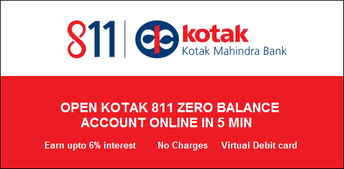 Get Kotak 811 zero balance savings bank account