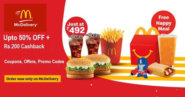 MCDonalds Coupons - Upto 50% OFF + Rs.200 Cashback | Cbshop.in