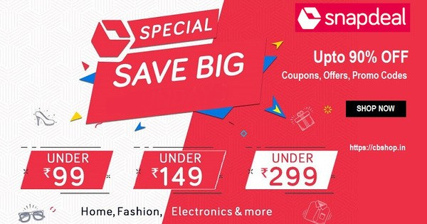 Snapdeal Coupons - Upto 80% OFF Coupon codes | Cbshop.in
