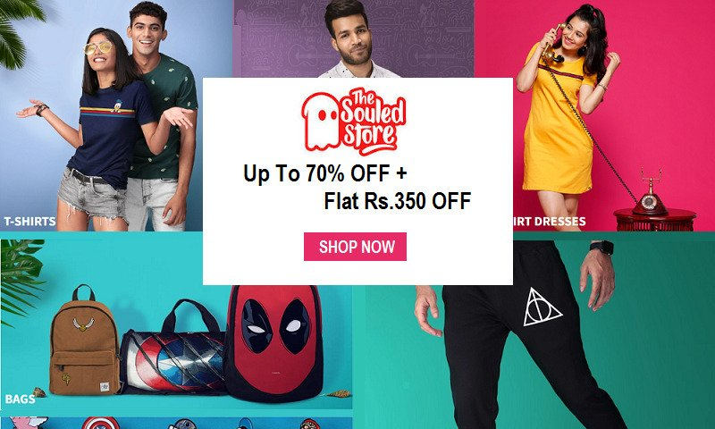 TheSouledStore Online Shopping Coupons - Flat Rs.350 OFF