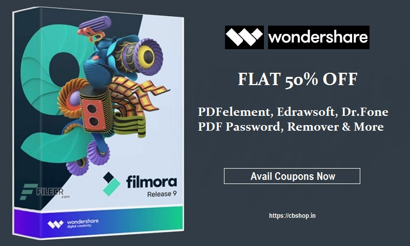 Wondershare Coupons - FLAT 50% OFF Coupon Code | Cbshop.in