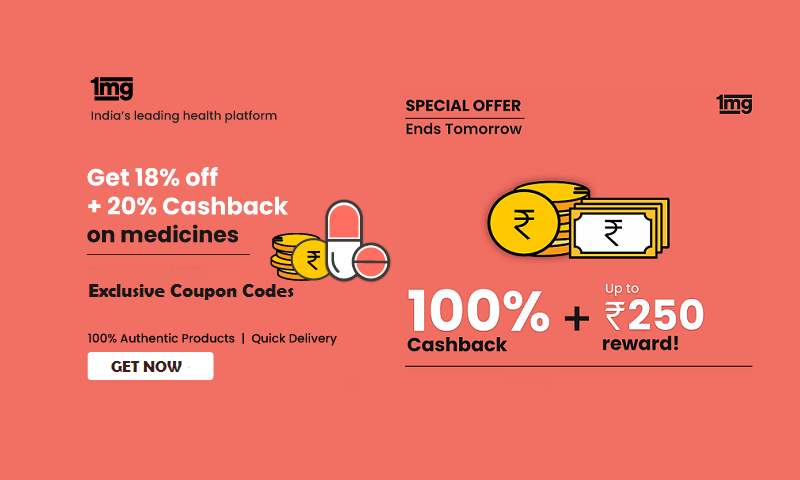 1MG Coupons - Upto 18% off + 20% Cashback on medicines